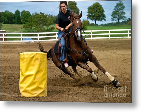 Action Metal Print featuring the photograph Horse And Rider In Barrel Race by Amy Cicconi