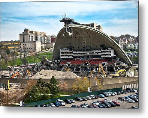 Bulldozers Metal Print featuring the photograph Mellon Arena Partially Deconstructed by Amy Cicconi