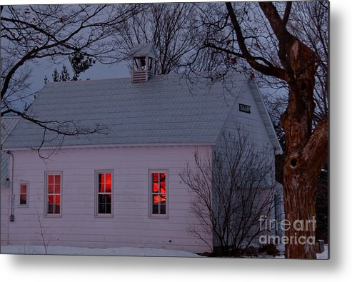 Sunset Sky Metal Print featuring the photograph School House Sunset by Cheryl Baxter