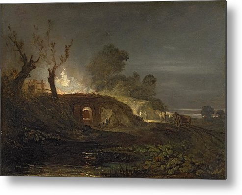 Xyc145616 Metal Print featuring the photograph A Lime Kiln At Coalbrookdale by Joseph Mallord William Turner