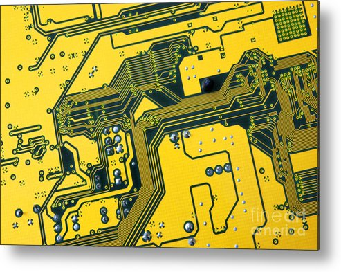 Abstract Metal Print featuring the photograph Integrated Circuit by Carlos Caetano