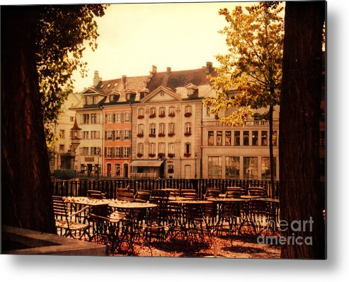 Lucerne Metal Print featuring the photograph Outdoor Cafe In Lucerne Switzerland by Susanne Van Hulst