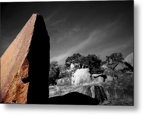Landscapes Metal Print featuring the photograph Straight Edge Boulder Enchanted Rock Texas by Tom Fant