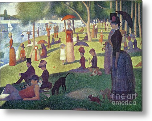 Sunday Afternoon On The Island Of La Grande Jatte Metal Print featuring the painting Sunday Afternoon On The Island Of La Grande Jatte by Georges Pierre Seurat