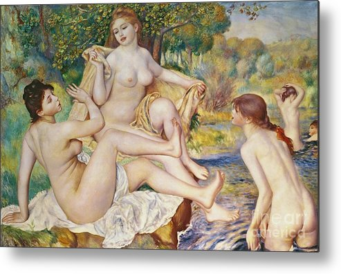 The Metal Print featuring the painting The Bathers by Pierre Auguste Renoir