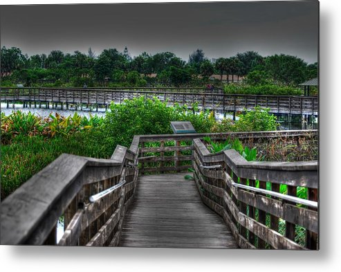 Hdr Metal Print featuring the photograph A Long Walk by Roger And Michele Hodgson