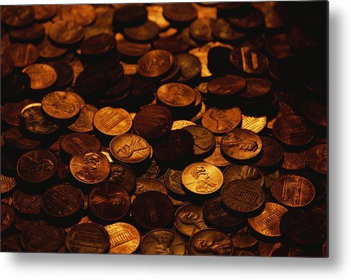 Money Metal Print featuring the photograph A Mound Of Pennies by Joel Sartore