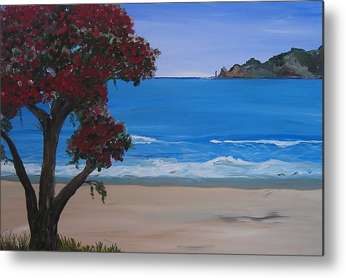 Landscape Seascape Pohutukawa Tree Metal Print featuring the painting A Peaceful Place Revisited by Sher Green