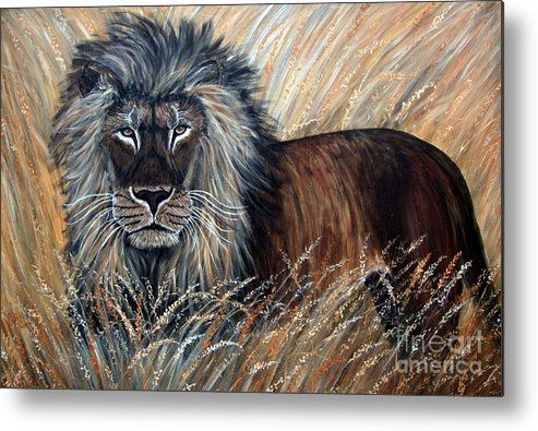 Lion Metal Print featuring the painting African Lion 2 by Nick Gustafson