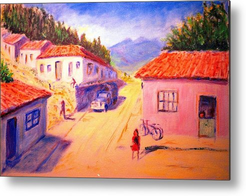 Oil Metal Print featuring the painting Andean Village by Horacio Prada