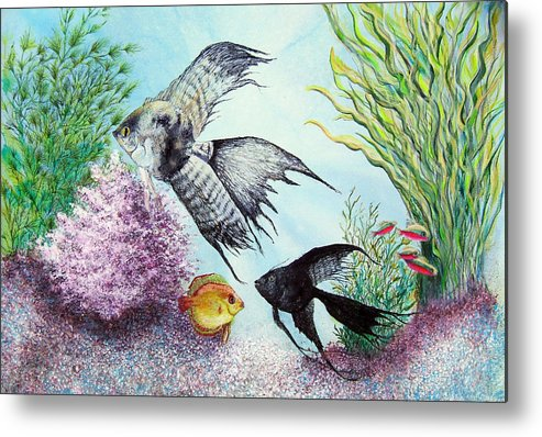 Fish Water Metal Print featuring the print Angel Fish by JoLyn Holladay
