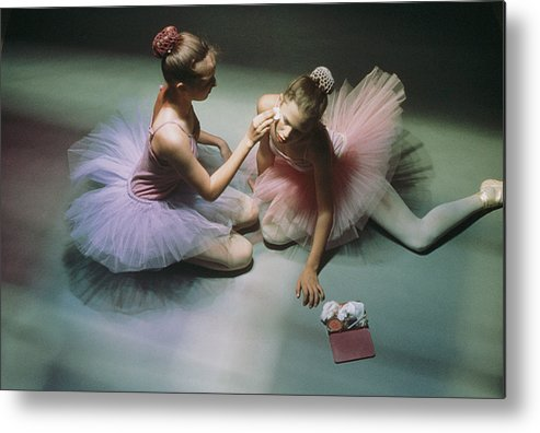 Color Image Metal Print featuring the photograph Ballerinas Get Ready For A Performance by Richard Nowitz
