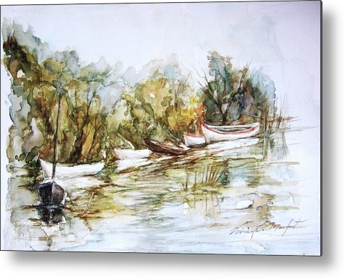 Watercolor Metal Print featuring the painting Barcas En La Albufera by Vivian Castillo M