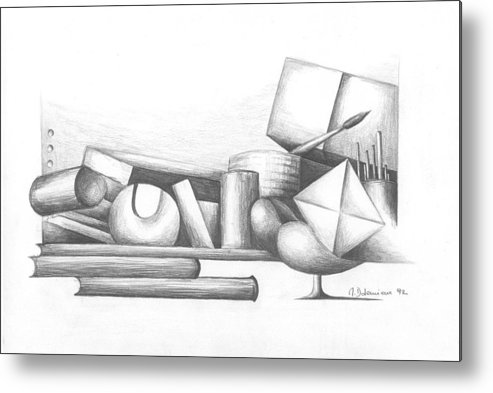 Still Life Metal Print featuring the drawing Bibliotheque by Muriel Dolemieux