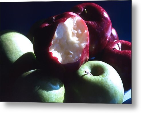Apples; Red Apples; Green Apples; Juicy; Healthful; Healthy; Crisp; Ripe; Fruit; Eat Metal Print featuring the photograph Bitten Apple Still Life by Steve Ohlsen