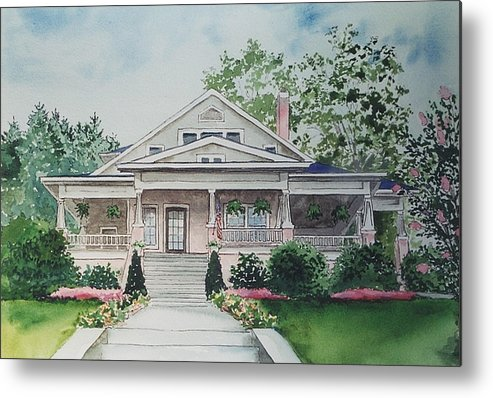 Print Of Blowing Rock Building Metal Print featuring the painting Blowing Rock Office by Maggie Clark