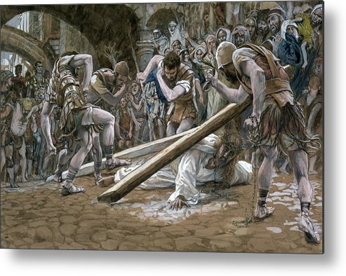 Fallen Metal Print featuring the painting Christ Falls Beneath The Cross by Tissot