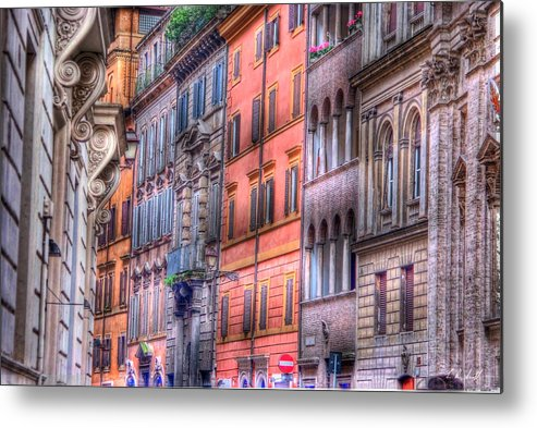 Hdr Metal Print featuring the photograph Colorful Roman Street by E R Smith