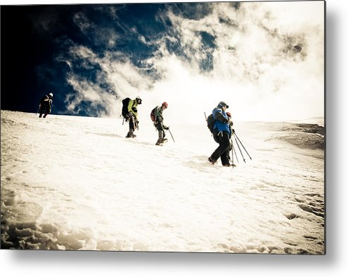 Mountaineering Photographs Metal Print featuring the photograph Descent by Iurii Zaika