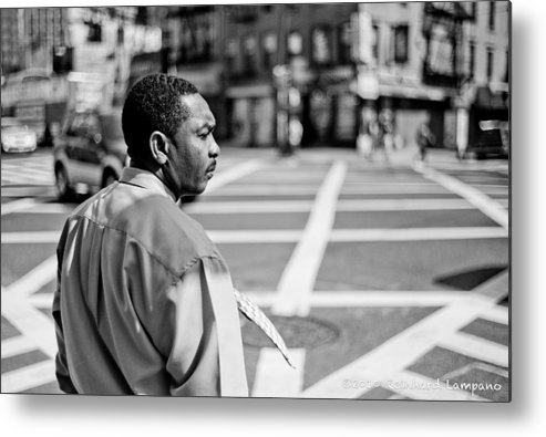 People Metal Print featuring the glass art Don't Walk. by Reinhard Lampano