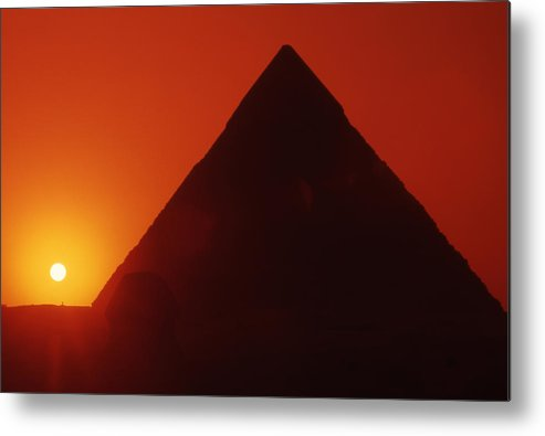 Ancient; Antiquity; Antiquated; Archaeology; Archaelogical; Atmospheric; Egypt Metal Print featuring the photograph Egypt. Sunset Behind The Sphinx And Chephren Pyramid. by Steve Outram
