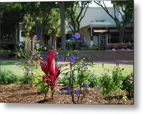 Flowers Metal Print featuring the photograph Flowers On Main Street by Jeremy Adams