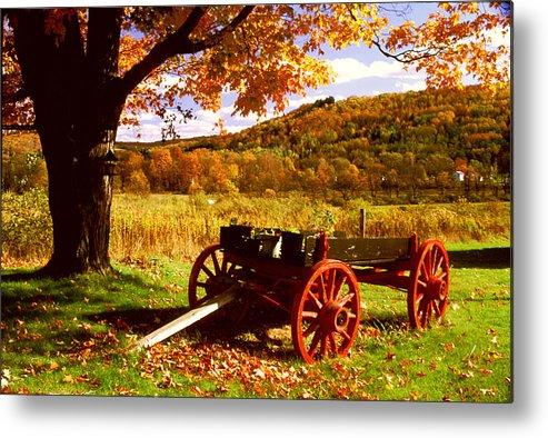 Autumn Metal Print featuring the photograph Foliage And Old Wagon by Roger Soule
