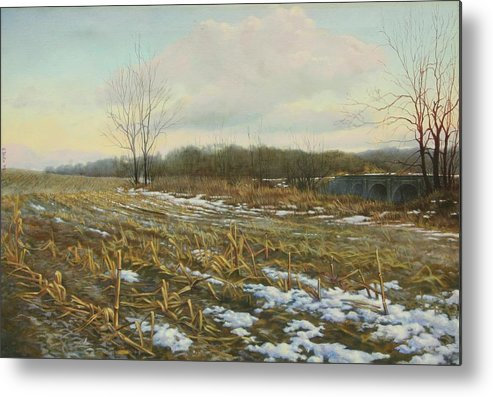 Landscape Metal Print featuring the painting Frost by Stephen Bluto