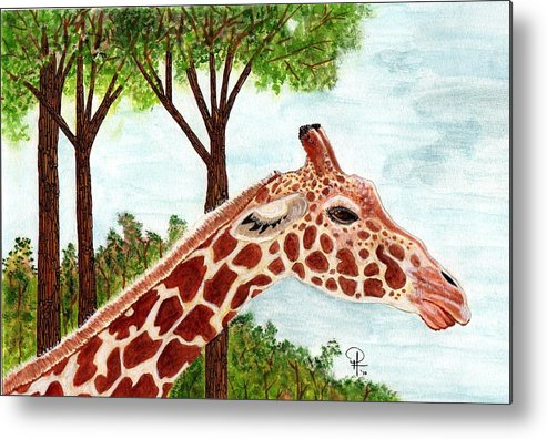 Africa Metal Print featuring the painting Giraffe Profile by Doug Hiser