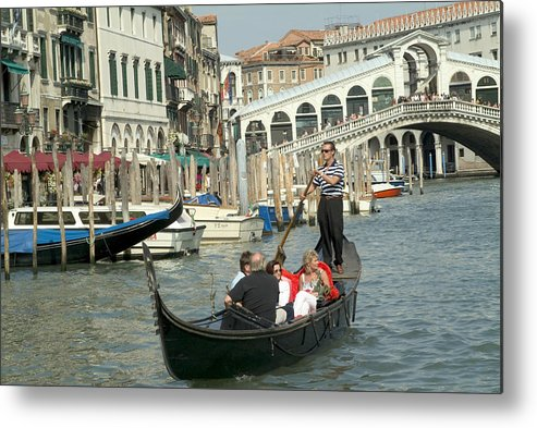 Venice Metal Print featuring the photograph Gonfolas On Venice Canal At Rialto Bridge by Charles Ridgway