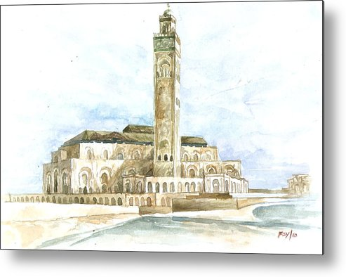 Mosque Metal Print featuring the painting Grand Mosque Hassan II Front Side by Efren Teves