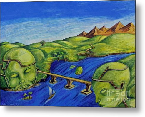 Surreal Fantasy Landscape Metal Print featuring the drawing Sounds Of The Heart Beat by Michael Cook