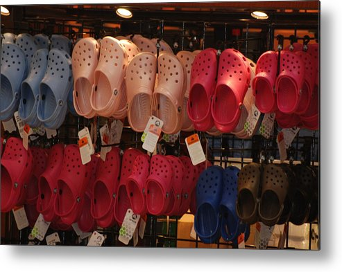 Pop Art Metal Print featuring the photograph Hanging Crocs by Rob Hans