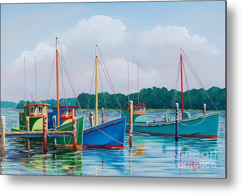 Landscape Metal Print featuring the painting Happier Times by Hugh Harris