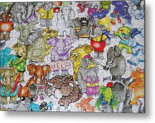 Abstract Metal Print featuring the photograph Helping Elephants by Michael L Gentile