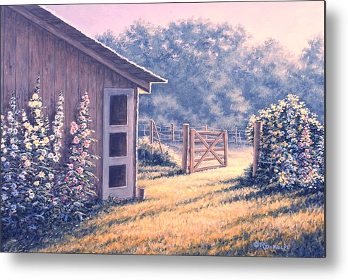 Flowers Metal Print featuring the painting Holly Hocks by Richard De Wolfe