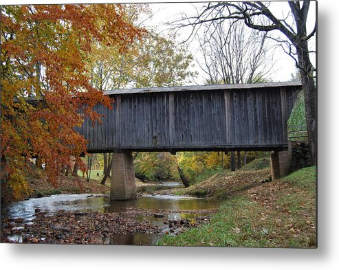 Landscape Metal Print featuring the photograph Kissing Bridge At Fall by Eric Liller