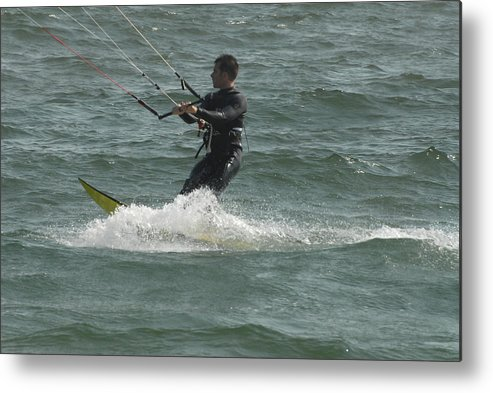 Kite Surfing Metal Print featuring the photograph Kite Surfing 11 by Joyce StJames
