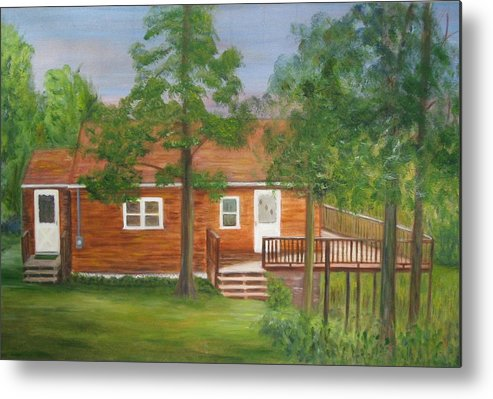 Landscape Metal Print featuring the painting Little Cabin In The Big Woods by Patricia Ortman