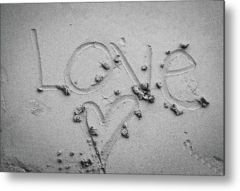 Love In Sand Metal Print featuring the photograph Love by Lillian Michi Adams