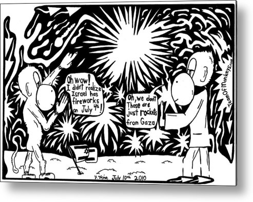 4th Of July Metal Print featuring the drawing Maze Cartoon Of Israel On The Forth Of July by Yonatan Frimer Maze Artist