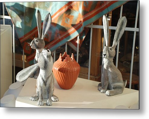 Rabbits Metal Print featuring the photograph New Mexico Rabbits by Rob Hans