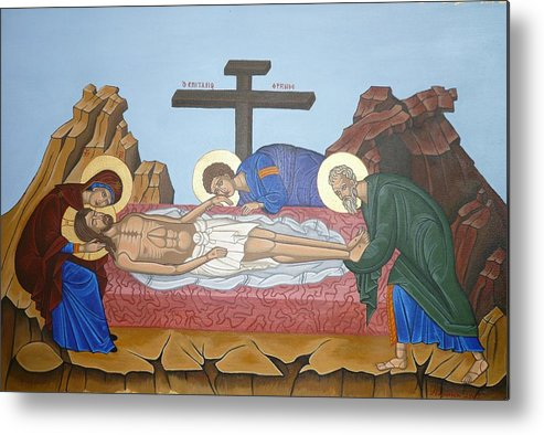 Marinella Owens Metal Print featuring the painting O Epitafos Jesus by Marinella Owens