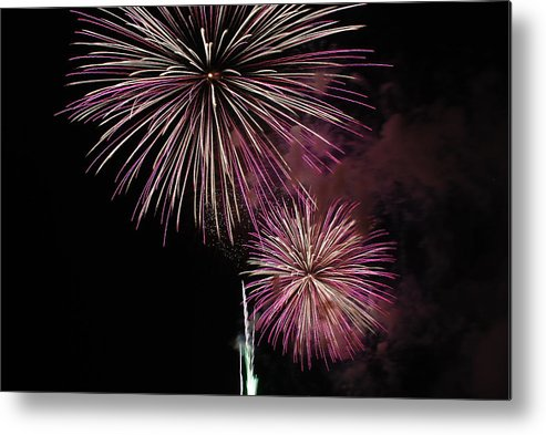 Fireworks Metal Print featuring the photograph Pink And Black by Clay Peters Photography