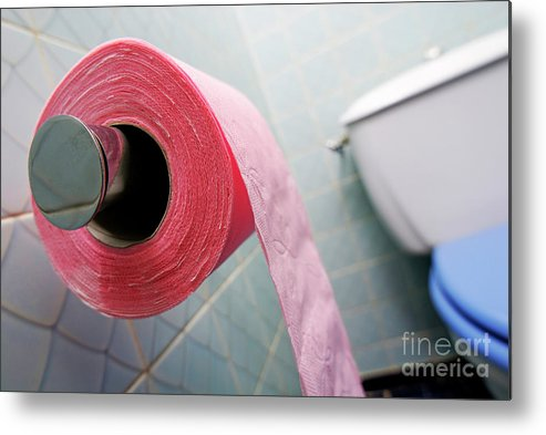 Horizontal Metal Print featuring the photograph Pink Toilet Roll On Holder In Bathroom by Sami Sarkis