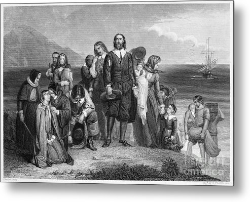 1620 Metal Print featuring the photograph Plymouth Rock: Landing by Granger