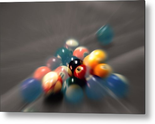 Pool Balls Metal Print featuring the photograph Pool Ball Break 2 by Steve Ohlsen