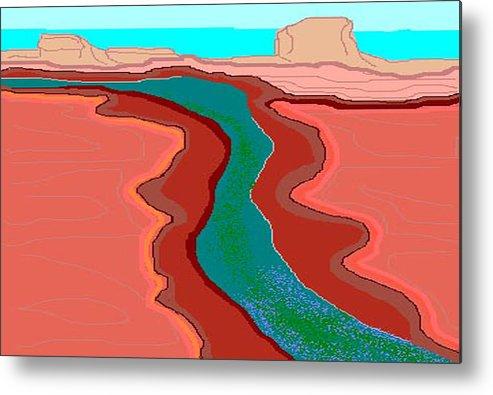 Landscape Metal Print featuring the digital art Red Mesa by Carole Boyd