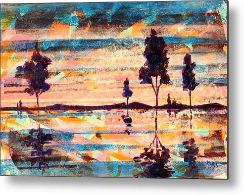 Water Metal Print featuring the painting Reflections by Rollin Kocsis