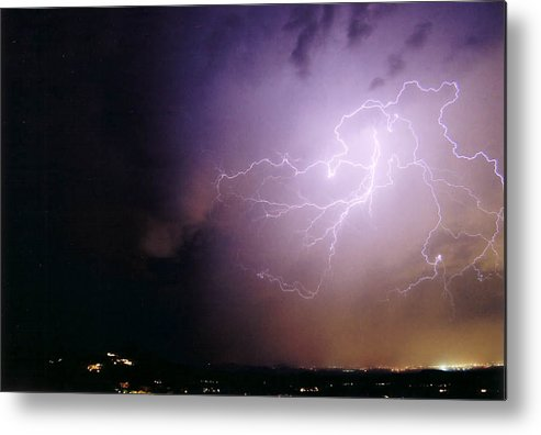 Lightning Metal Print featuring the photograph Sky Angel by Cathy Franklin